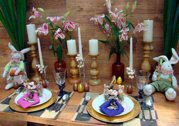 Mesa de Páscoa montada pela arquiteta Cynthia Rondelli: velas são ótimas para celebrar datas festivas - Reprodução/Correio Web