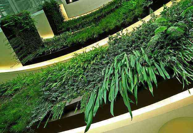 O projeto do botânico consiste em implementar vegetação em fachadas e paredes de vários edifícios pelo mundo. Na foto, Tailândia - Vertical Garden/Divulgação