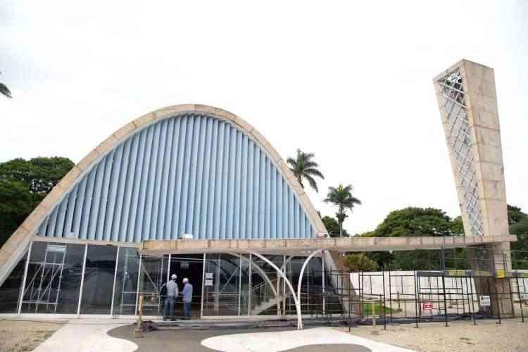 A Construtora Tecnibras é responsável pela restauração da Igrejinha da Pampulha, cartão-postal de BH - Tecnibras/Divulgação