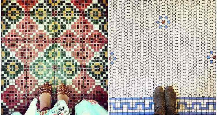 <b>À esquerda:</b> um mosaico da Igreja Matriz de Senhora Santana, em Itaúna, Minas Gerais. A atual construção é de 1935, mas ela carrega uma história que começou em 1739, quando os portugueses fundadores da cidade resolveram criar por lá um oratório. <b>À direita:</b> um piso da tradicional Glaser's Bake Shop, em Nova York. Uma família de imigrantes alemães abriu a loja em Yorkville, no Upper East Side, em 1902 - Chão que eu piso/Divulgação
