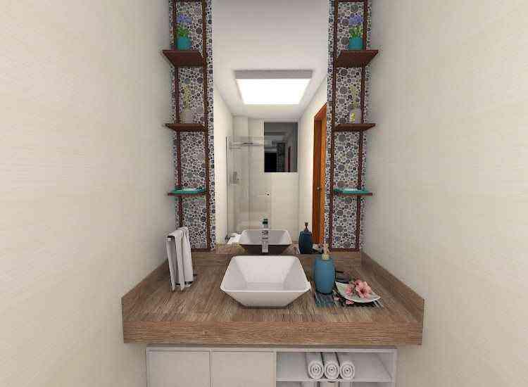 No projeto do banheiro, a arquiteta recomendou a troca das louças antigas por novas e em tons claros, piso de porcelanato que imita madeira e modelo de bancada suspenso para dar mais leveza ao espaço - Perspectiva/Divulgação