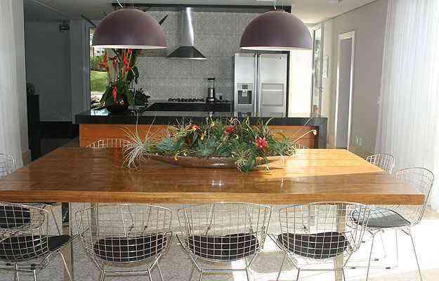 Sylvia Navarro deu destaque para a luminária na copa, no mesmo ambiente da cozinha - Arquivo pessoal/Divulgação