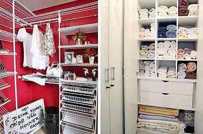 Projeto da Mr. Closet (E) e roupeiro em quarto pequeno, projeto de João Rafael de Paula (D) - Divulgação