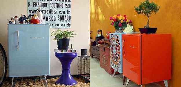 O frigobar retrô pode se transformar em objeto de decoração para sala ou para o quarto - Julian Lopes e Katia Perrone/Divulgação