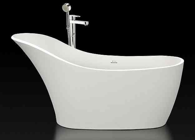 Banheira de imersão com cabeceira e misturador de piso com ducha manual - Vallvé/Divulgação
