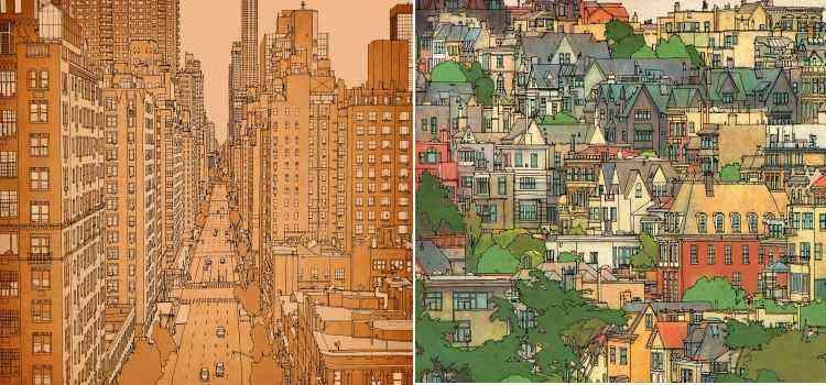 Nova York em tons de laranja e São Francisco, colorida, à direita - Divulgação