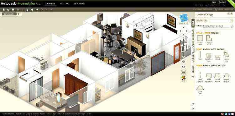 O aplicativo Autodesk Homestyler permite que o usuário visualize sua planta em modelos tridimensionais realistas - REPRODUÇÃO DE TELA