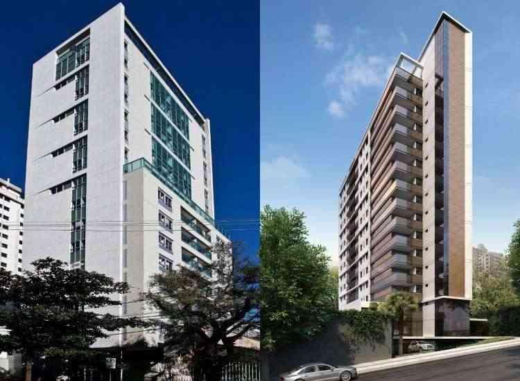 À esquerda, Edifício Privilège, em Lourdes, que tem apartamentos de três quartos em um nível e de três quartos tipo loft em dois níveis. À direita, Edifício Legacy, com três plantas completamente diferentes em cada pavimento - Cadu Rocha/Divulgação