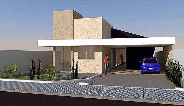 Com arquitetura de linhas contemporâneas e execução simples, a ideia desta residência de três quartos pode ser comprada por valores a partir de R$ 390 na Loja de projetos - Loja de projetos/Divulgação