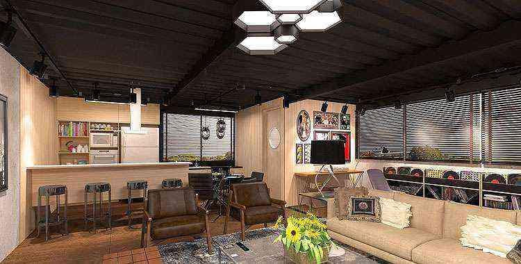 Loft do Casal, de Cioli Cássius Stancioli, é a junção de três contêineres que, em 89 metros quadrados, se distribuem em salas de estar, leitura e música, cozinha integrada às salas, área de serviço, banheiro social e suíte - Cioli Cássius Stancioli/Divulgação