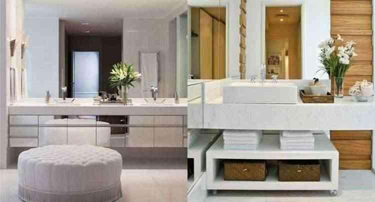 O mármore é uma das escolhas para bancadas de banheiro. Alia charme e sofisticação ao projeto de decoração - Reprodução/Internet