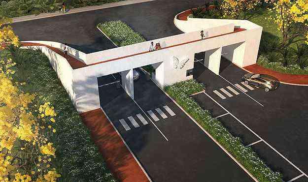 No Condomínio Biovillas, a calçada foi substituída pela pista de cooper que passa por cima da portaria - Biovillas/Divulgação
