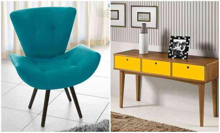 Poltrona decorativa Thaís Suede e aparador vintage amarelo - Mobly/Divulgação