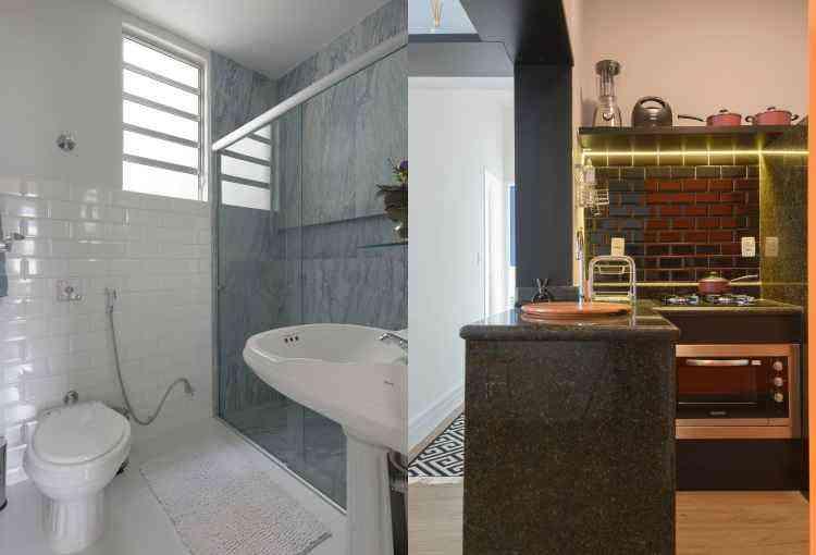 Dois projetos bem distintos: branco clássico no banheiro e preto para a cozinha - Edson Ferreira/Divulgação