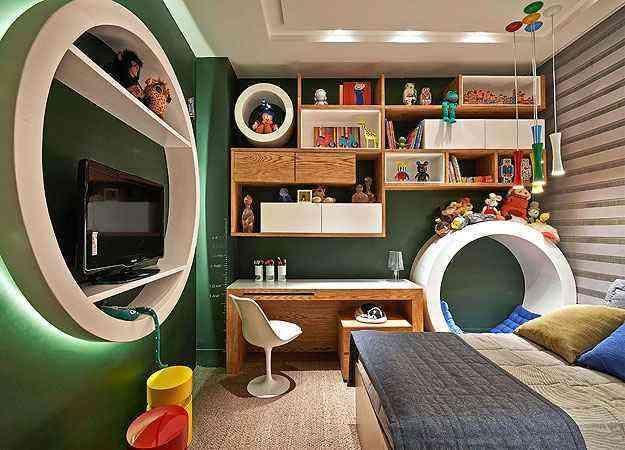 Neste projeto das decoradoras Cláudia e Sylvia Navarro na Decora Lider deste ano, destaque para a parede em lousa, um ótimo recurso interativo em quartos infanto-juvenis - Lider Interiores/Divulgação