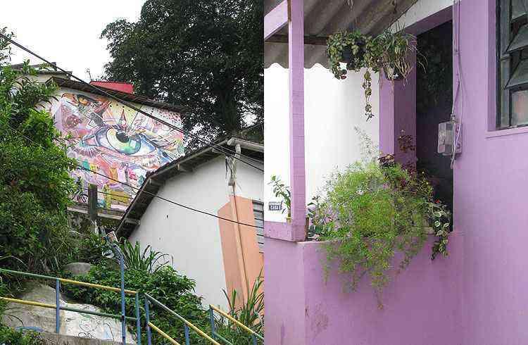 Além da pintura das casas, várias intervenções artísticas enfeitam a comunidade - Joana Gontijo/EM/D.A Press