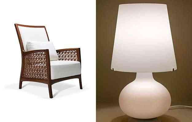 Poltrona Cobogó (esq.), do designer Roque Frizzo, será apresentada pela Saccaro. Já a luminária criada por Max Ingrand (dir.), em 1954, terá 15 releituras à venda - Saccaro/Divulgação e Drika Viana/Divulgação