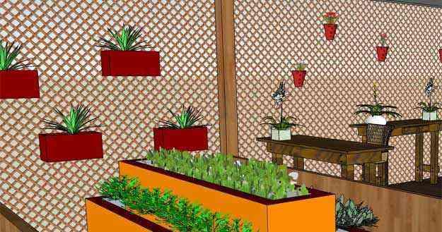 Ambiente criado pela designer Kátia Matos: uso de treliça é opção para instalação de uma horta ou jardim vertical numa área de serviço ou varanda - Katia Matos/Divulgação