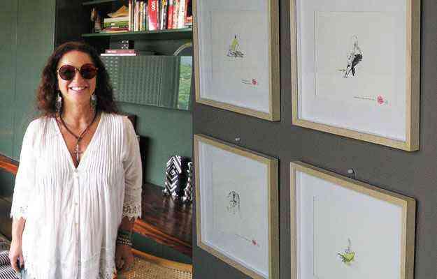 Sylvia Navarro diz que intenção foi fugir das cores clássicas masculinas. À direita, desenhos do artista Estevão Machado - Joana Gontijo/Portal Uai/D.A Press