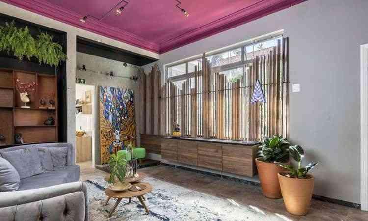 Projeto estar multimídia, de Rafael Medeiros, chamou a atenção pelo teto rosa inspirado em um hotel escandinavo - Ivan Araújo/Divulgação
