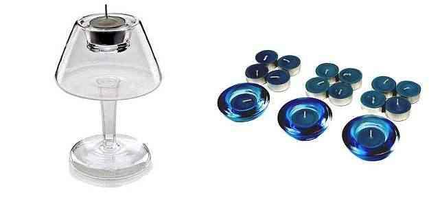 Castiçal abajur transparente, loja Imaginarium (R$ 29,90) (E), e kit porta-vela king rechaud (18 peças), loja Etna (R$ 19,99) (D) - Divulgação