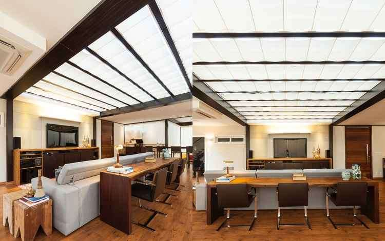 Além de prática e de fácil instalação, a cortina de teto conta com diversos acabamentos que se distinguem quanto ao design, tamanho e material de fabricação - Rafael Carrieri/Divulgação
