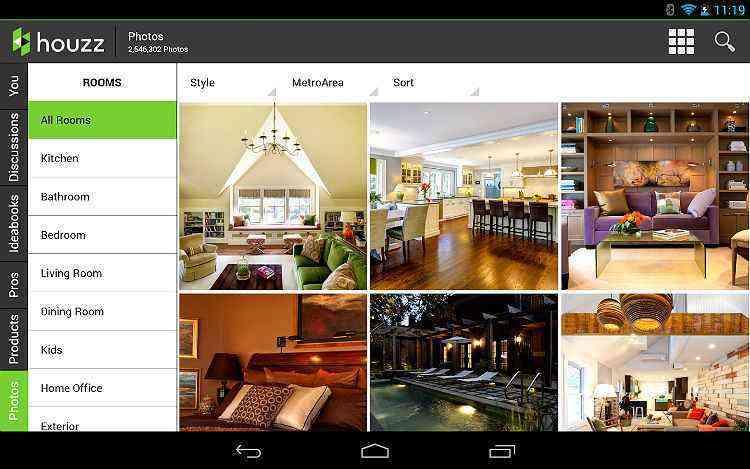 No Houzz Interior Design é possível filtrar as imagens por tipo de ambiente: quarto, sala de jantar, sala de estar, banheiro e cozinha - REPRODUÇÃO DE TELA