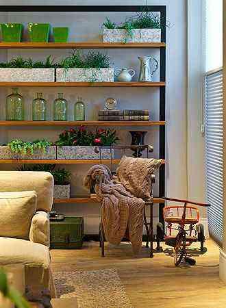 Em imóveis menores, opção é usar vasos dispersos em estantes e mesas, e também em cantos - Henrique Queiroga/Divulgação