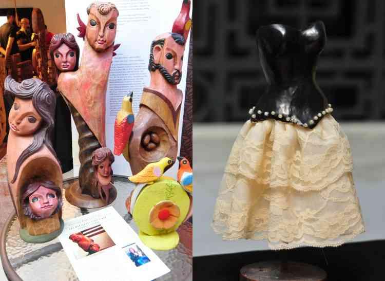 Esculturas em madeira e vestido de cerâmica decorativo - Gladyston Rodrigues/EM/D.A Press