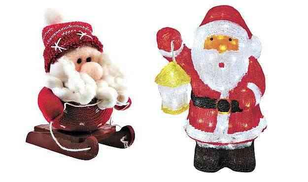 Papai Noel Ski Heureux, loja Etna (R$ 19,99) e Papai Noel iluminado, Carmen Christmas (R$ 450)  - Internet/Reprodução