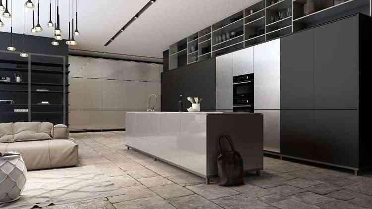 A cozinha brilhante, com conceito de espaço aberto, privilegia o preto e metal em sintonia  - AGI/Divulgação