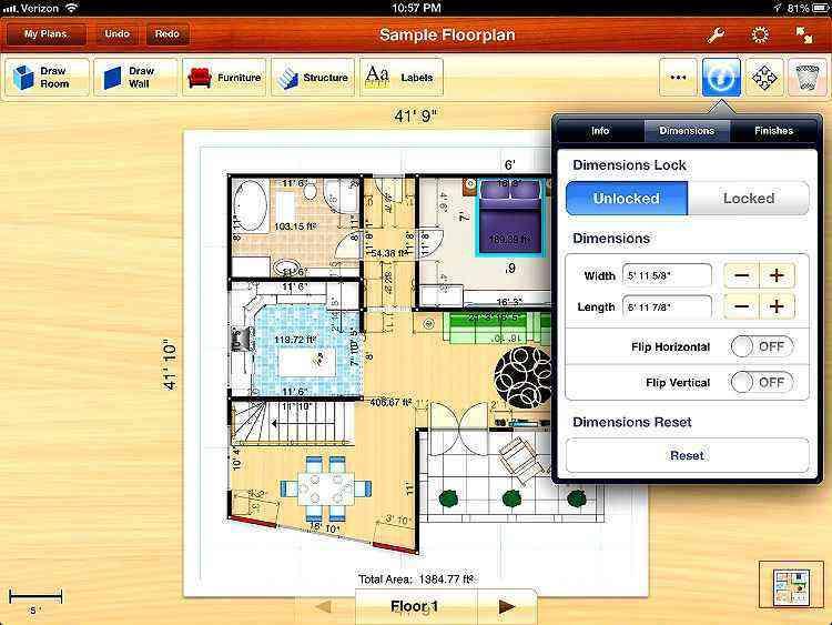 O Floor Plan Creator para smartphones Android ou Floorplans Pro para iOS permitem que você desenhe sua casa e adicione modelos de objetos, criando um leiaute em 2D de como ficará a decoração - REPRODUÇÃO DE TELA