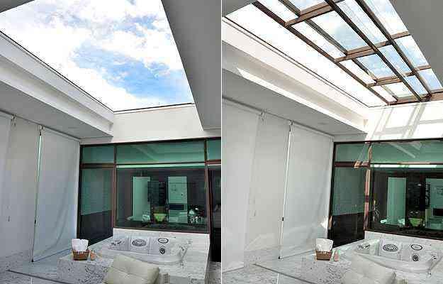 Uso de tetos retráteis em áreas internas do imóvel dá charme e facilita a circulação de luz e ar por ambientes sem janelas  - Eduardo de Almeida/RA studio