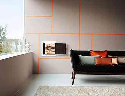 Na parede, o tom malva cinza da Coral aparece em sintonia com o laranja - D&D Home Center/Divulgação