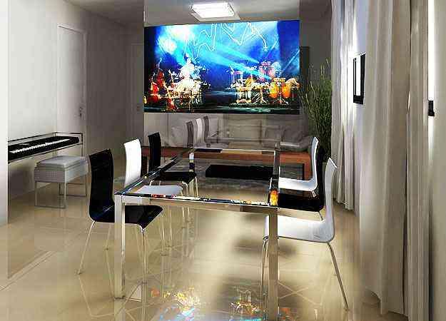 TV retrátil é usada em projeto de Izabel Souki  - Izabel Souki Engenharia e Projetos/Divulgação