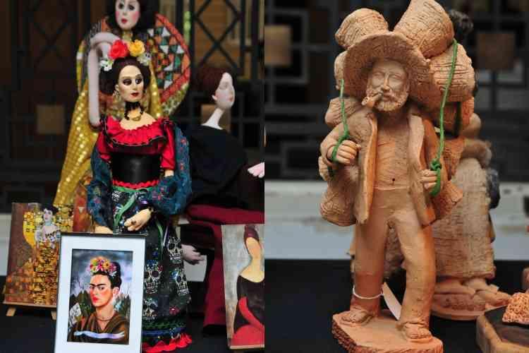 Bonecas são a versão em terceira dimensão de telas famosas, e homem em argila traz cena do cotidiano do interior - Gladyston Rodrigues/EM/D.A Press