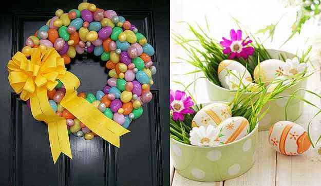 Uma opção mais elaborada é colocar uma alegre e colorida guirlanda de flores ou de ovinhos na porta de entrada - Reprodução/O Bonde - acesso em 09/04/2014