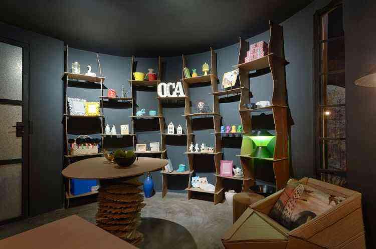 Ambiente loja Oca Criativa, das arquitetas Míriam Gatti e Gabriela Brasil, é um dos destaques da Morar Mais por Menos  - Gustavo Xavier/Divulgação
