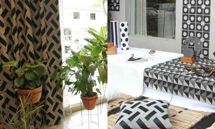 A dobradinha P&B também é protagonista da montagem de tecidos que adorna o showroom da Donatelli - Jair Amaral/EM/D.A Press