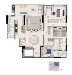 Apartamento, 3 Quartos, 3 Vagas, 3 Suites
