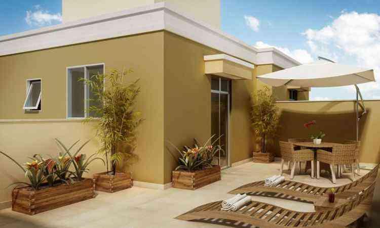 Em Betim, o Garden Alterosas conta com apartamentos de dois e três quartos, com opções com área privativa e cobertura - Neocasa/Divulgação