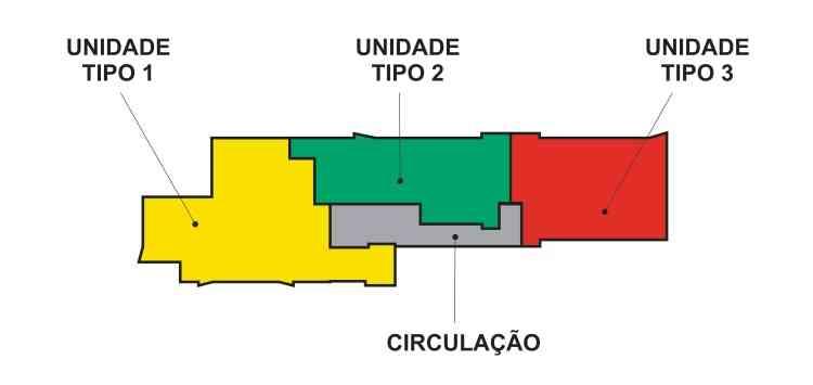 Exemplo esquemático de pavimento com plantas múltiplas do Edifício Legacy -