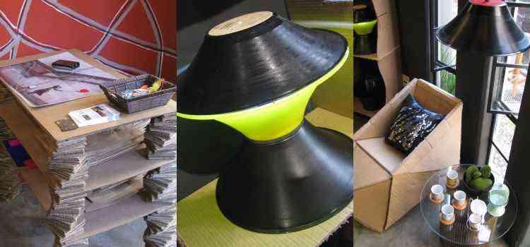 Materiais reciclados foram utilizados neste ambiente da loja Oca Criativa - Joana Gontijo/EM/D.A Press