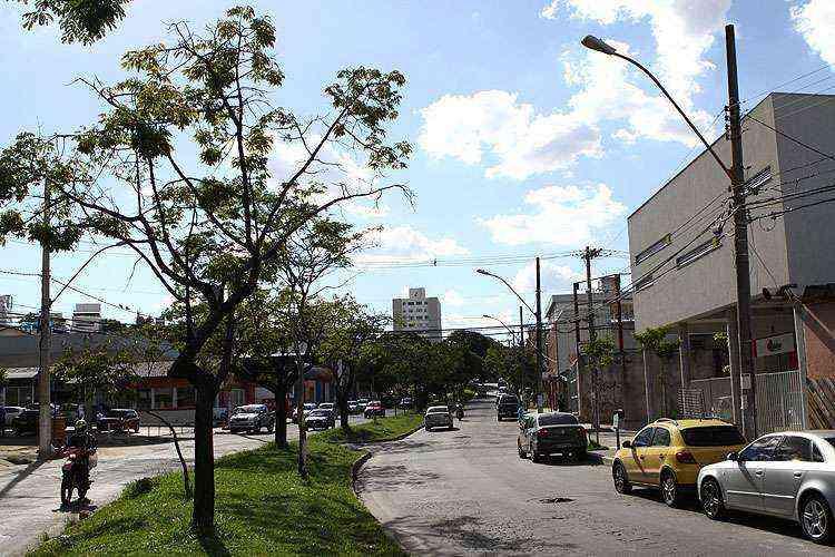 A Avenida Sebastião de Brito é a principal via do bairro, repleta de opções de lojas de comércio e de serviço - Rodrigo Clemente/EM/D.A Press