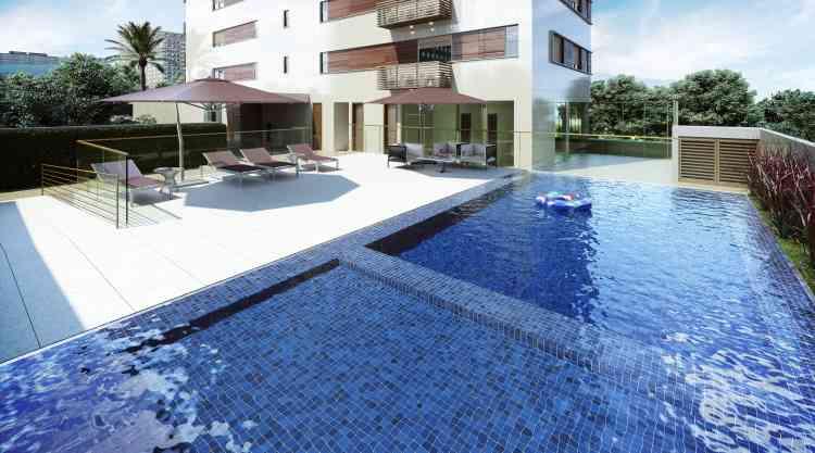 Piscina é um dos chamarizes do residencial San Giuseppe, além de sauna e quadra poliesportiva - Grupo EPO/Divulgação