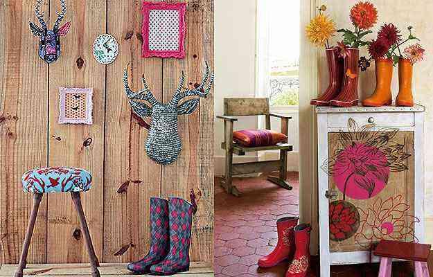As galochas combinam com ambientes rústicos, decorados com madeira, por exemplo. Quanto mais colorida, mais bonita a galocha ficará na proposta - Reprodução/Internet