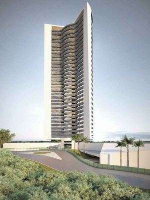 Perspectiva de dois ângulos do Edifício 4 Ventos, no Bairro Jardim da Torre, em Nova Lima, que ocupará área de 9,5 mil metros quadrados - PHV Engenharia/Divulgação