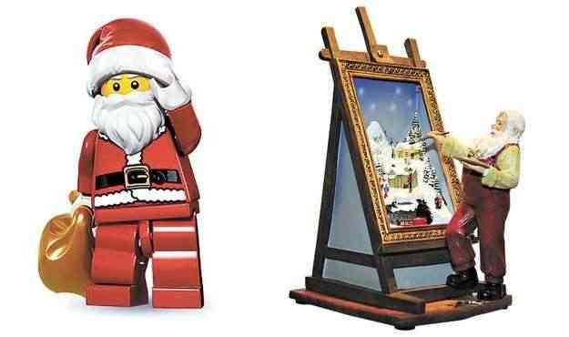 Papai Noel Lego da linha Minifiguras da série 8 ( R$ 9,90), e Papai Noel pintor, da Carmen Christmas (R$ 620)   - Internet/Reprodução e Zuleika de Souza/CB/D.A Press