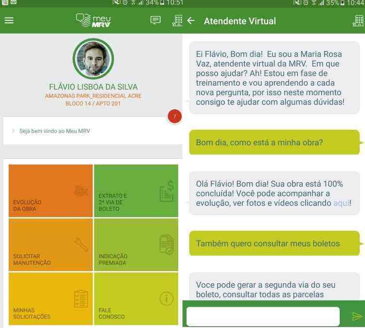 Tela do aplicativo, em que a mascote virtual Maria Rosa esclarece dúvidas de cliente - MRV/Divulgação
