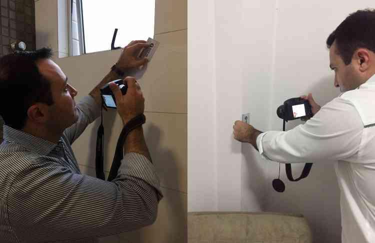 Daniel Rezende utiliza fissurômetro para verificar a abertura da lesão na alvenaria - Arquivo Pessoal